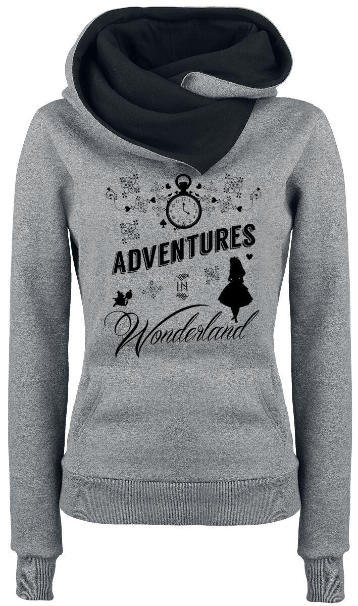Image of   Alice i Eventyrland Eventyr i Eventyrland Girlie hættetrøje blandet grå-sort