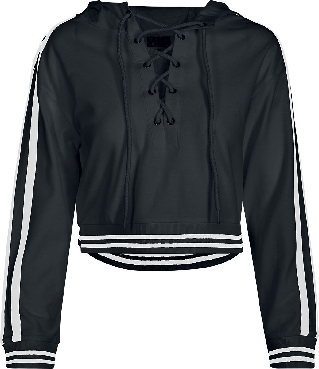 Urban Classics Ladies Short Lace Up Hoody Bluza damska czarny/biały