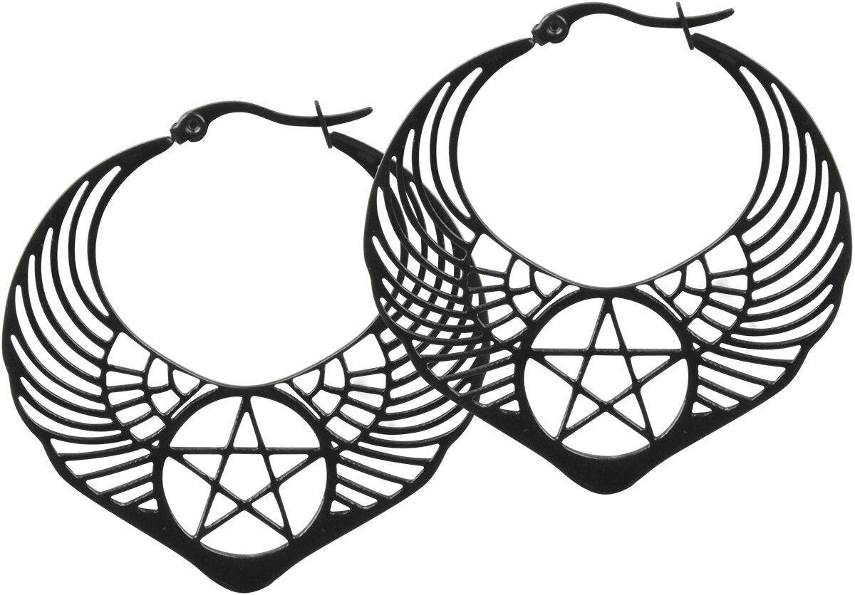 Ohrringe für Frauen - Wildcat Winged Pentagram Hoops Ohrring Set schwarz  - Onlineshop EMP