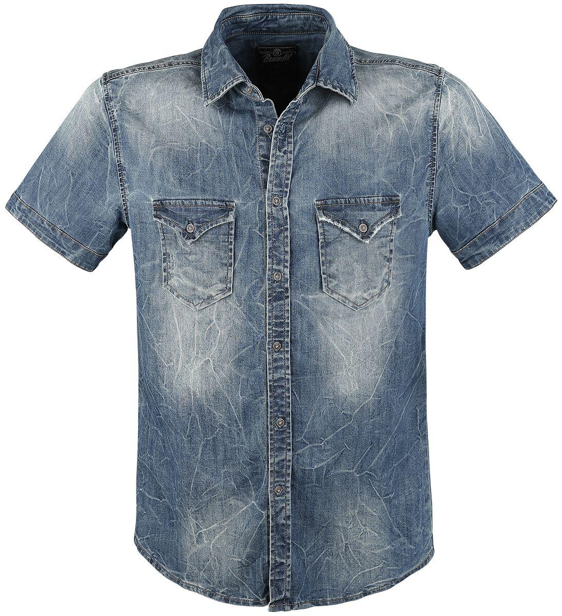 Image of   Brandit Riley Short Sleeve Denim Shirt Skjorte blå