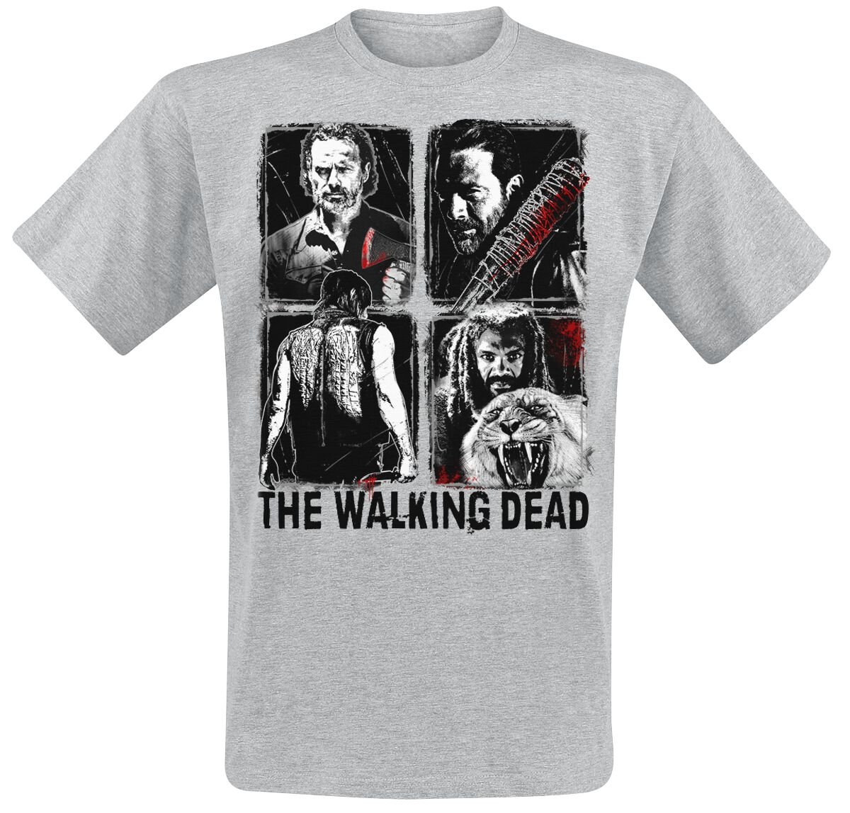 Image of   The Walking Dead Four Characters T-Shirt grålig