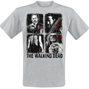 The Walking Dead Four Characters T-shirt gris chiné