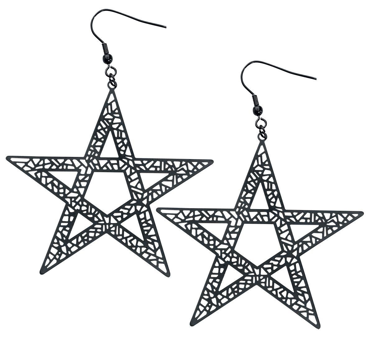 Ohrringe für Frauen - Pentagramm Ohrring Set schwarz  - Onlineshop EMP