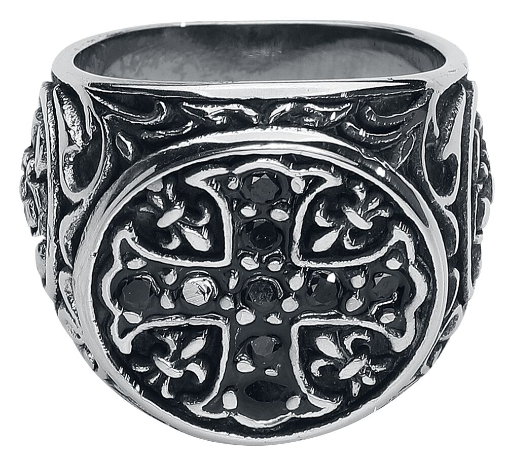 Image of   etNox hard and heavy Kreuz mit Fleur De Lis Ring sølvfarvet