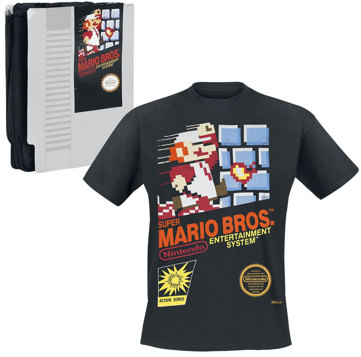 Image of   Super Mario Game Cover T-Shirt sort