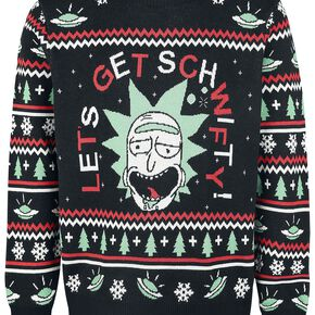 Rick and Morty Let's Get Schwifty Christmas Knitted Jumper - Black - S - Noir