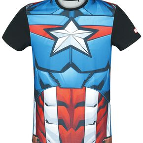 Marvel Captain America Men's Sublimated T-Shirt - Black - S - Noir