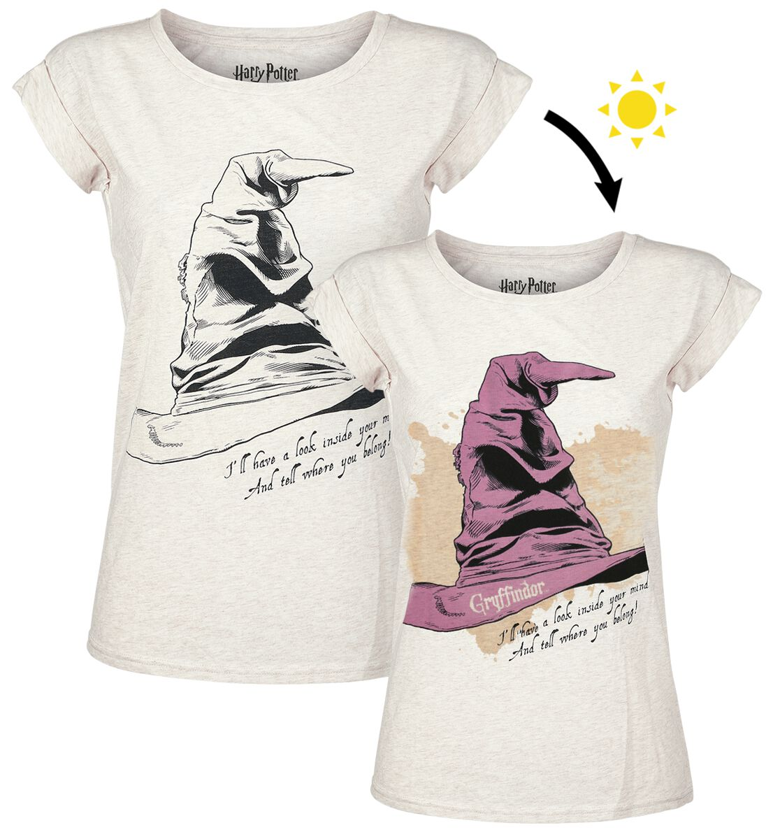Image of   Harry Potter Der sprechende Hut - Gryffindor Girlie trøje hvid