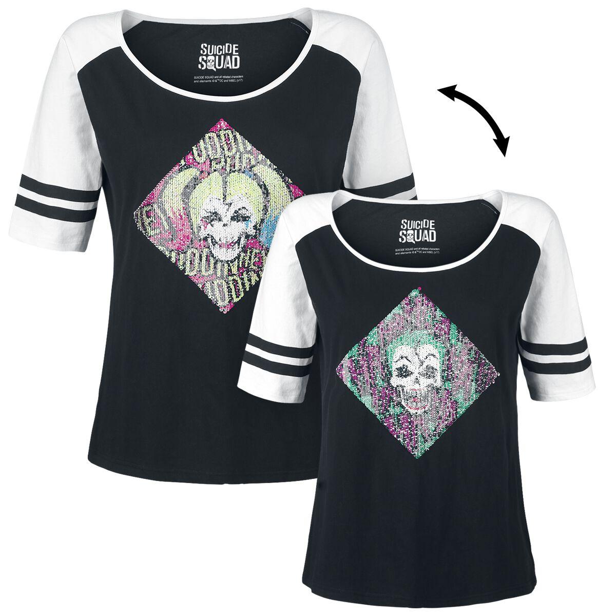 Image of   Suicide Squad Harley and Joker Girlie trøje sort-hvid