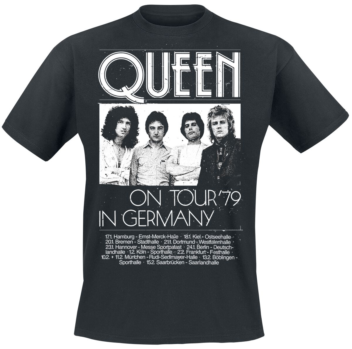 Image of   Queen Germany Tour 79 T-Shirt sort