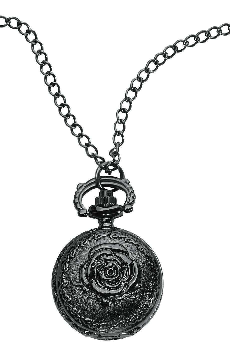 Marki - Zegarki na rękę - Zegarek - Naszyjnik Wildkitten Black Rose Pocket Watch Zegarek - Naszyjnik czarny - 372442