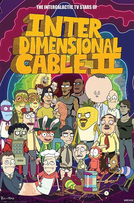 Image of   Rick And Morty Stars of Interdimensional Cable Plakat multifarvet