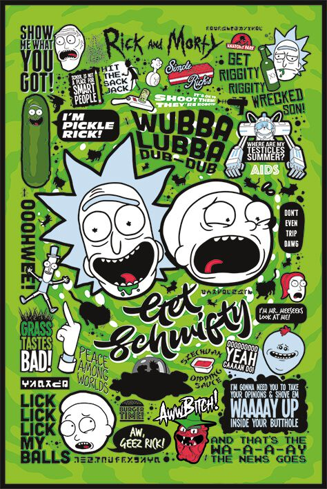 Image of   Rick And Morty Quotes Plakat multifarvet