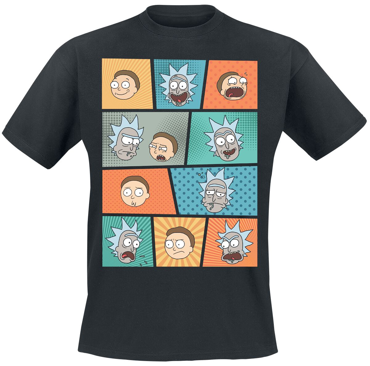 Image of   Rick And Morty Pop Art Faces T-Shirt sort