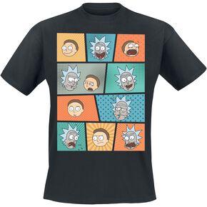 Rick & Morty Pop Art Faces T-shirt noir