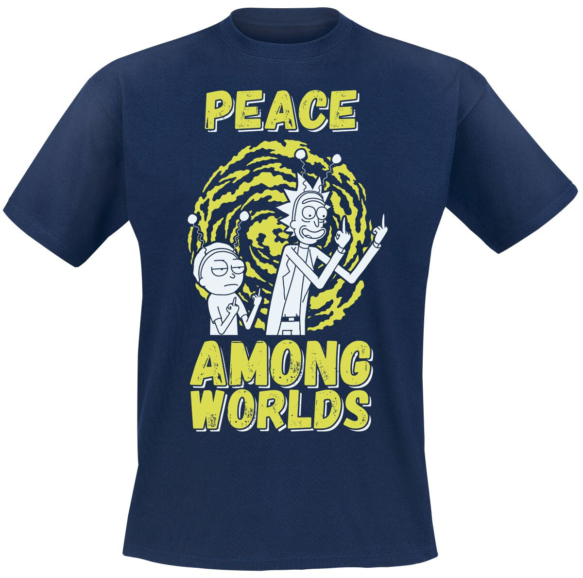 Image of   Rick And Morty Peace Among Worlds T-Shirt navy