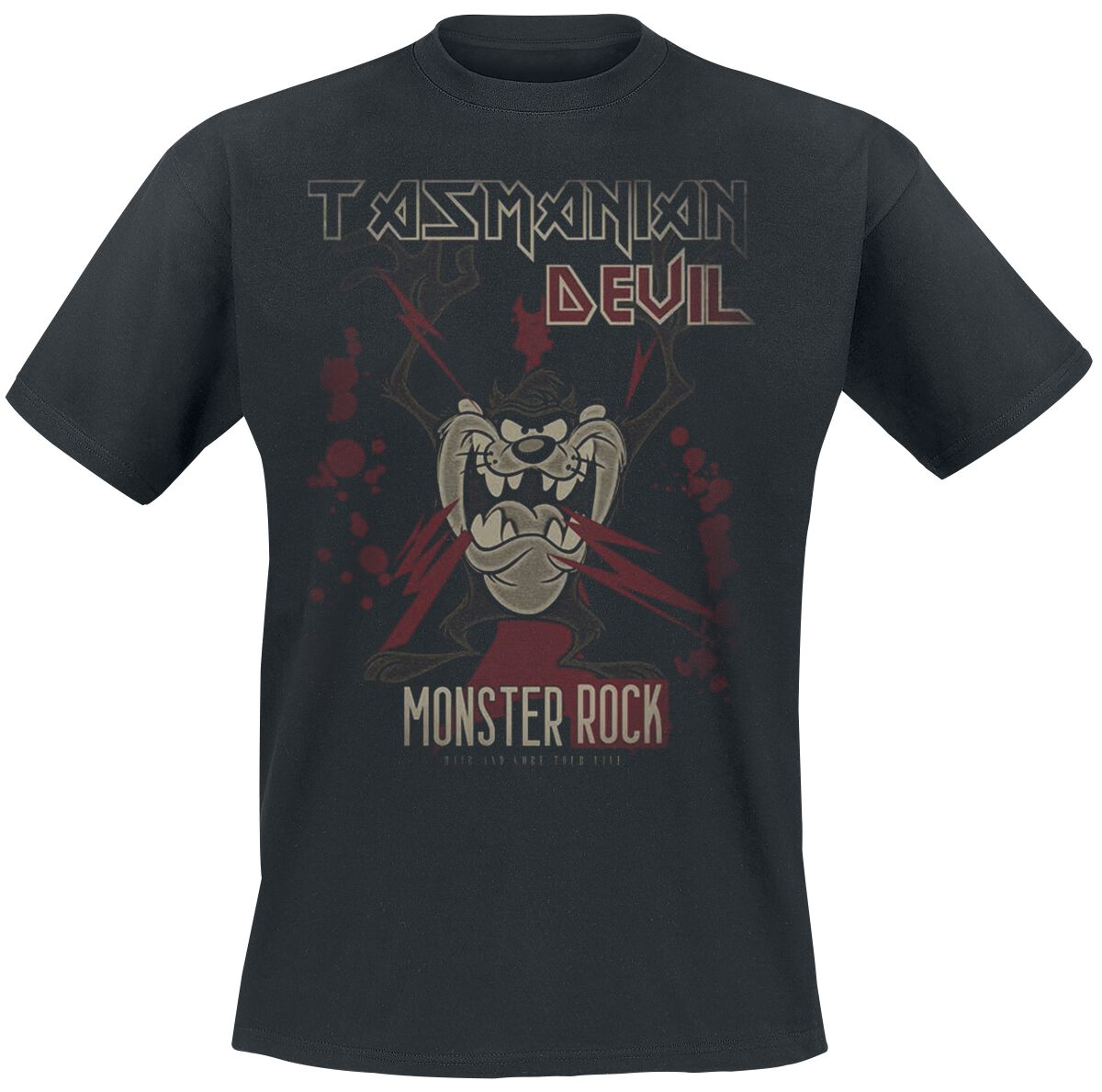 Merch dla Fanów - Koszulki - T-Shirt Looney Tunes Tasmanian Devil Monster Rock T-Shirt czarny - 372692
