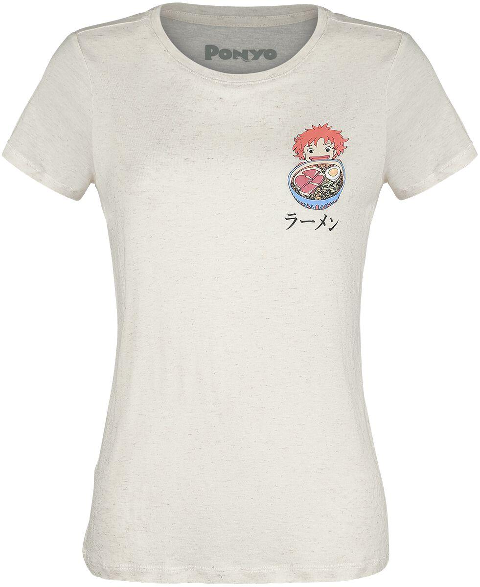 Ponyo - Das große Abenteuer am Meer Studio Ghibli - Ramen Koszulka damska odcienie beżowego