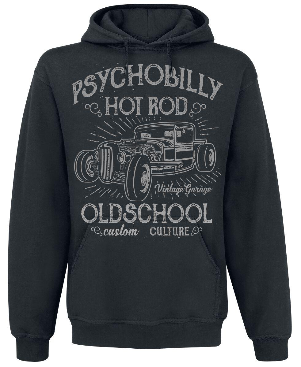 Psychobilly Hot Rod Kapuzenpulli schwarz