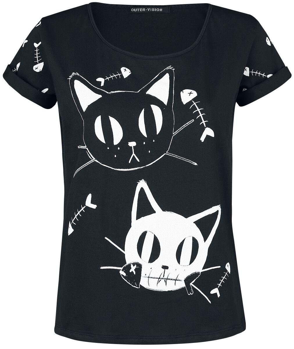 Image of   Outer Vision Cat Meal Girlie trøje sort