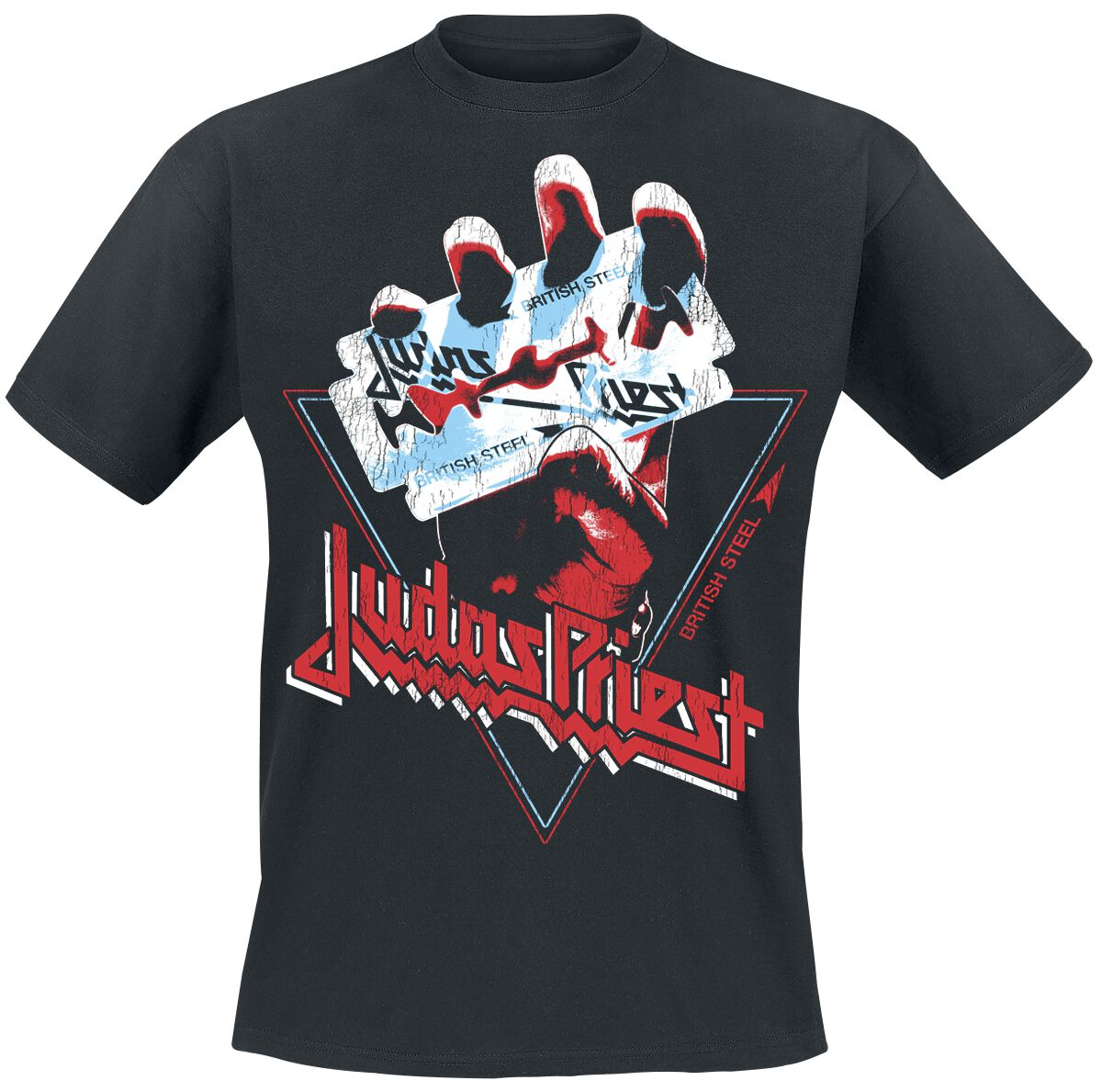 Image of   Judas Priest British Steel - Triangle T-Shirt sort