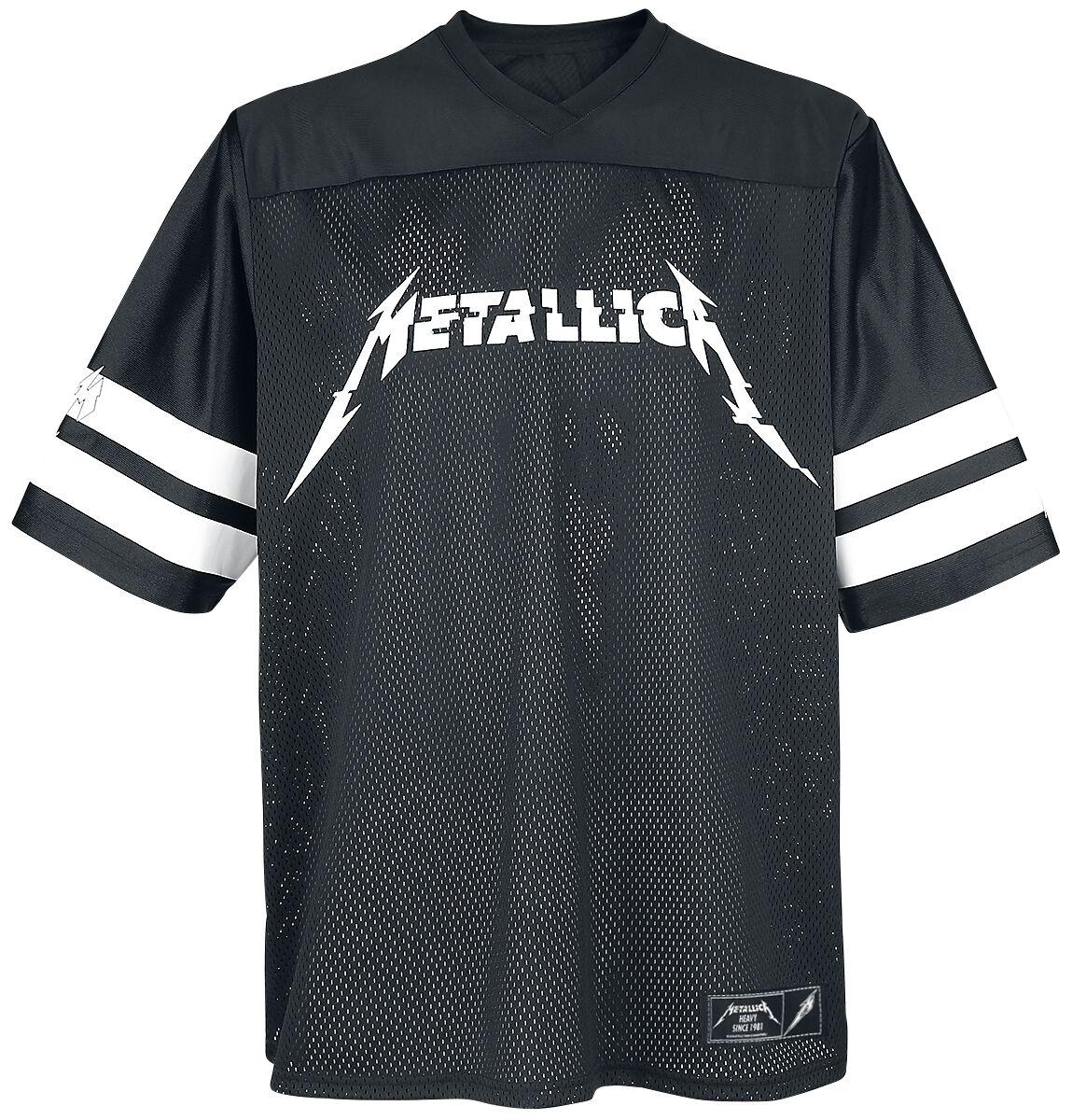 Image of   Metallica Hardwired - Football Jersey T-Shirt sort-hvid