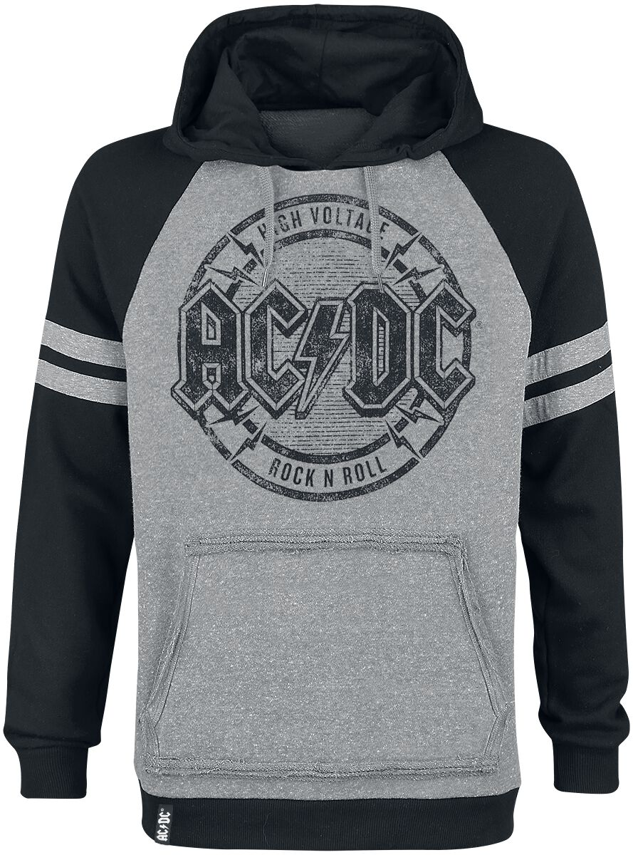 Image of   AC/DC EMP Signature Collection Hættetrøje meleret, lys grå-sort