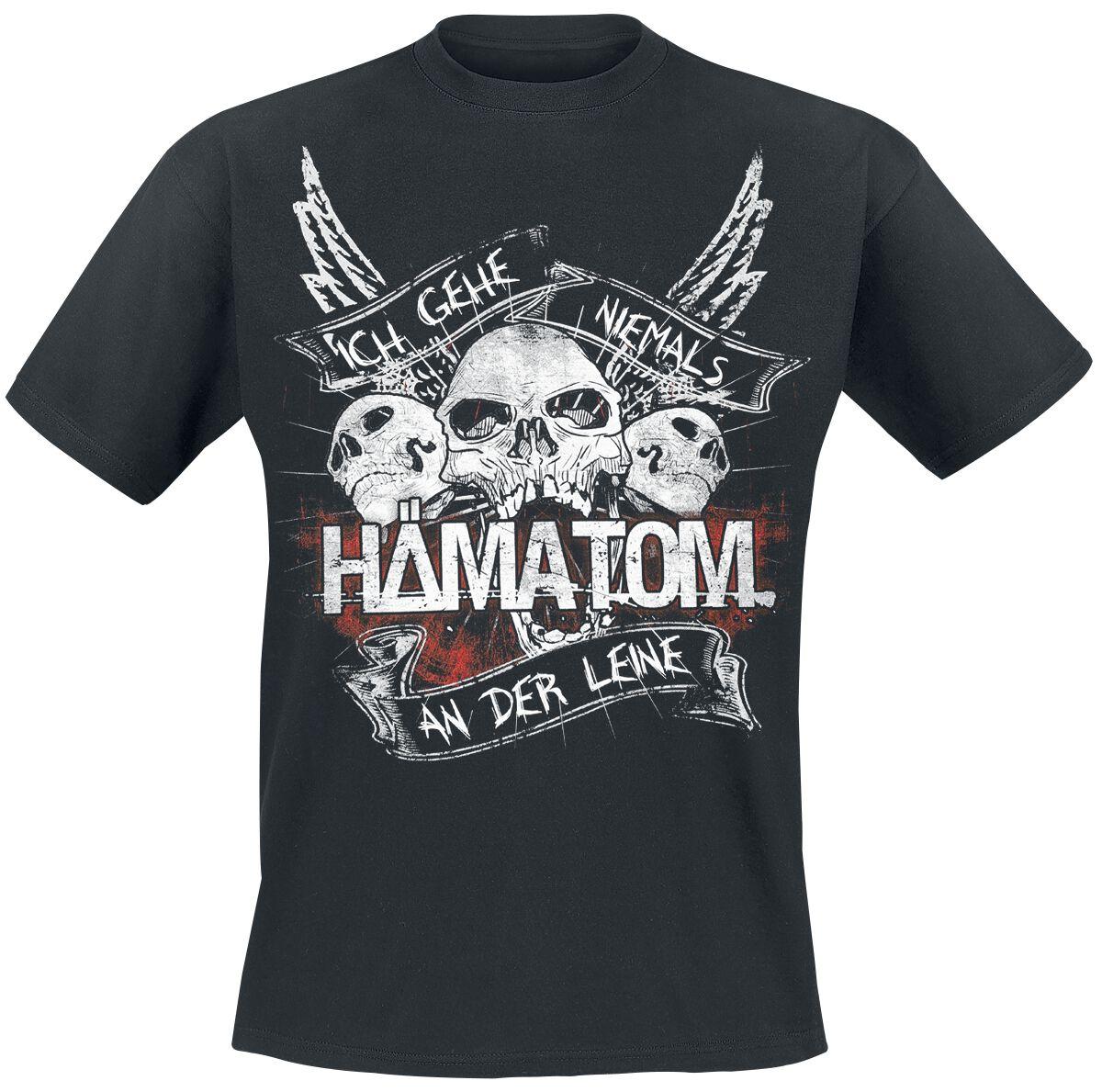 - Koszulki - T-Shirt Hämatom Niemals an der Leine T-Shirt czarny - 373923