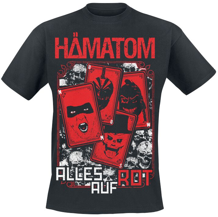 Image of   Hämatom Alles auf Rot T-Shirt sort