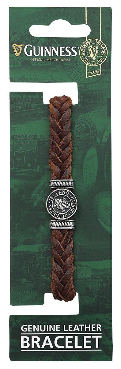 Merch dla Fanów - Bransoletki - Bransoletka skórzana Guinness Harfe Bransoletka skórzana brązowy - 374134