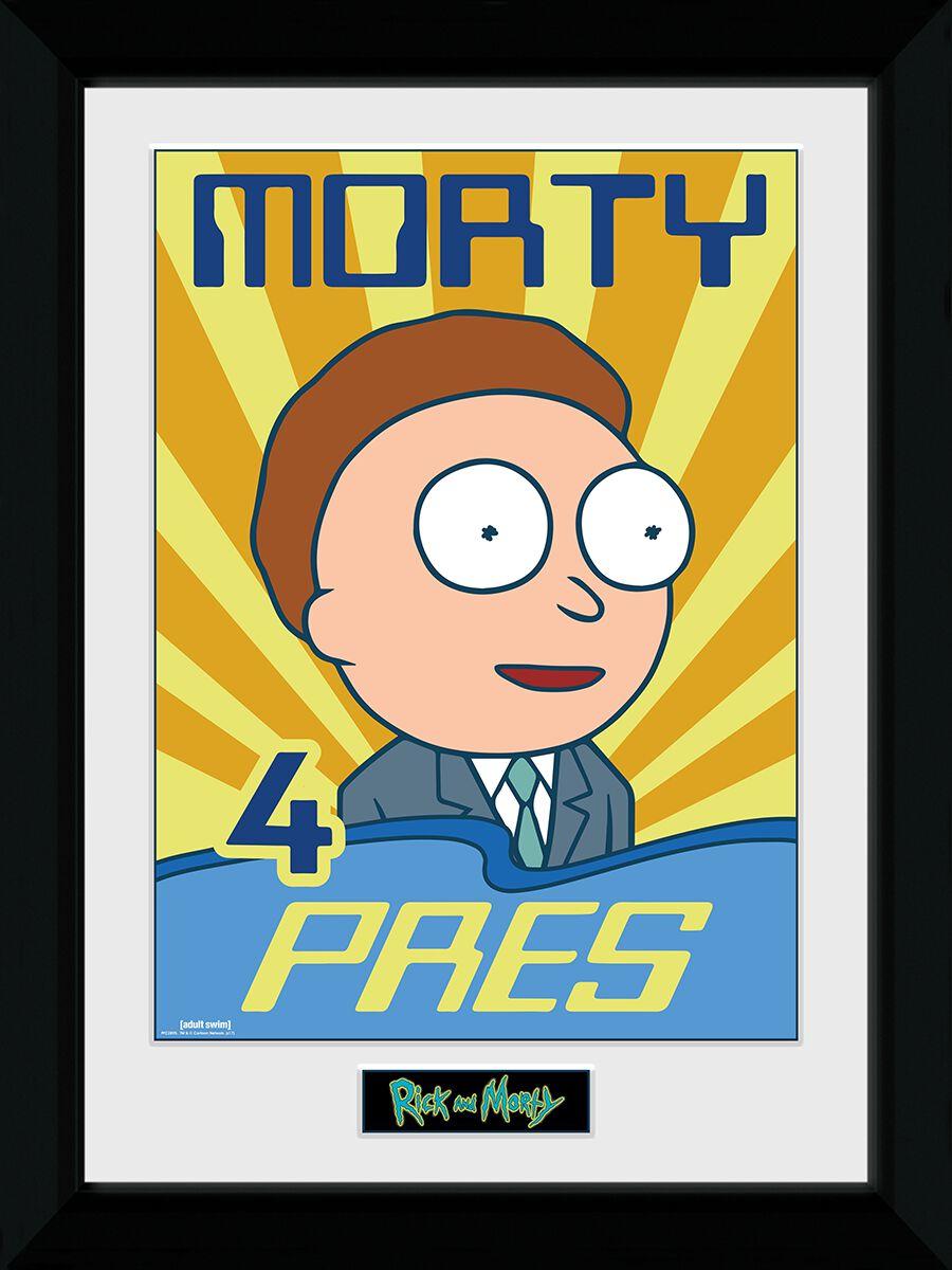 Image of   Rick And Morty Morty 4 Pres Indrammet billede multifarvet