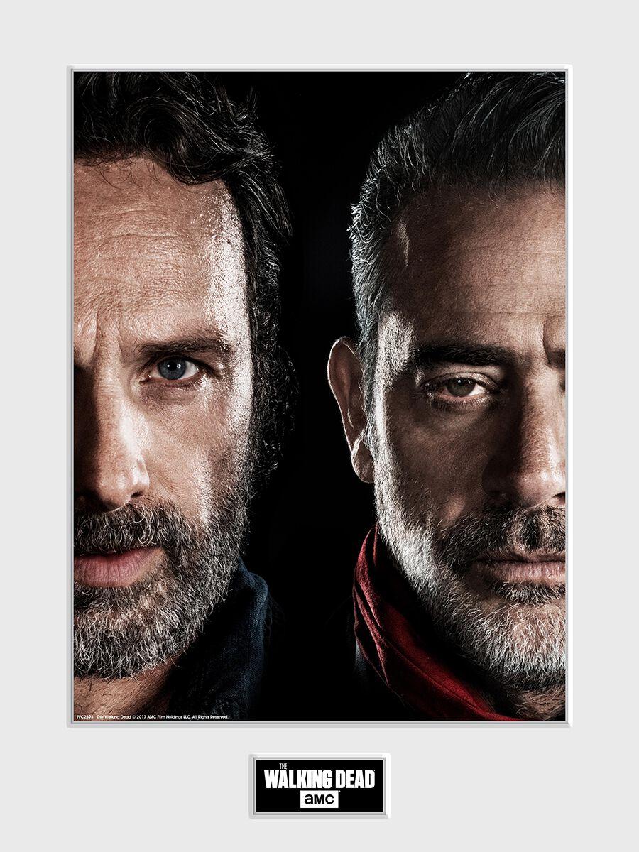 Image of   The Walking Dead Rick Grimes vs Negan Indrammet billede multifarvet