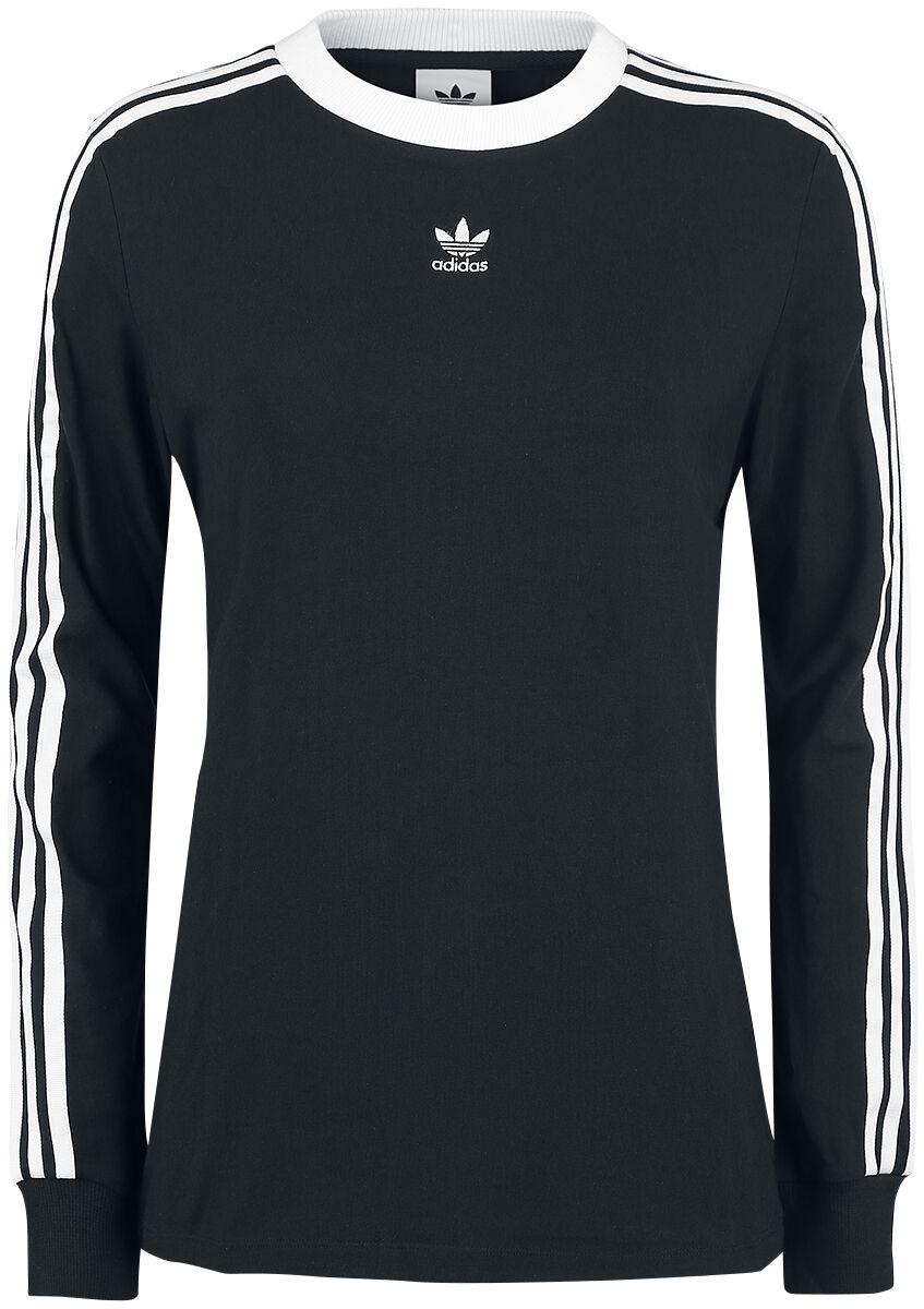 Image of   Adidas 3 Stripes LS Girlie langærmet sort-hvid
