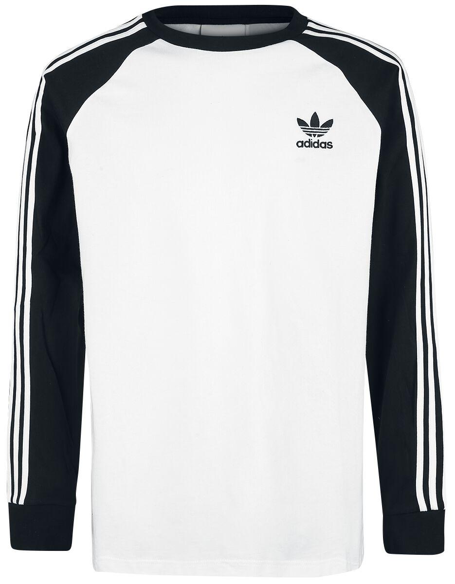 Image of   Adidas 3-Stripes LS T Langærmet hvid-sort