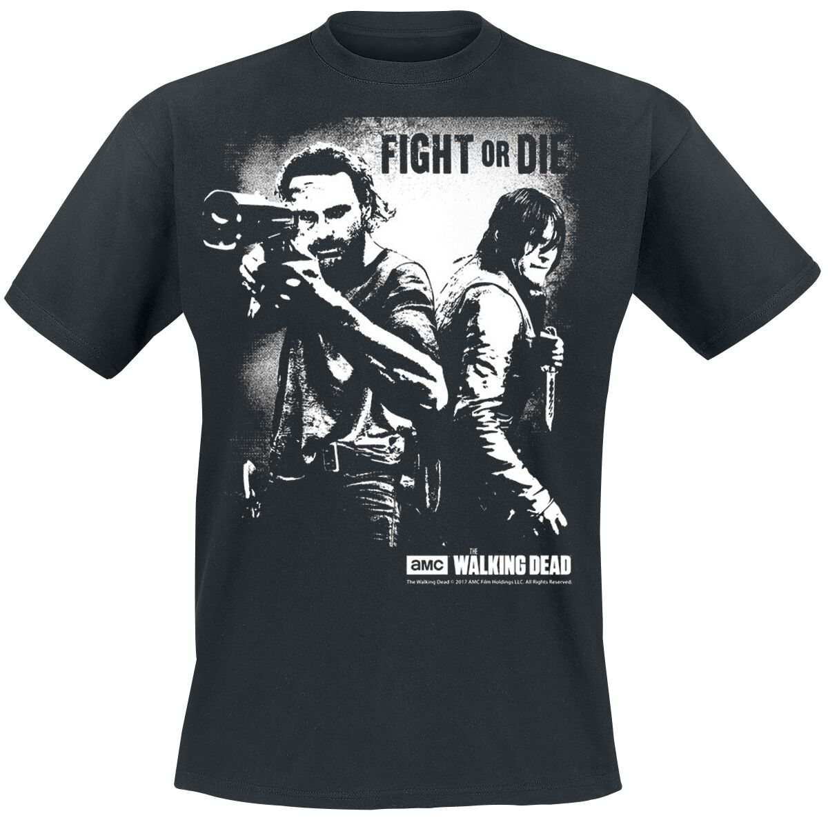 Image of   The Walking Dead Rick Grimes And Daryl Dixon - Fight Or Die T-Shirt sort