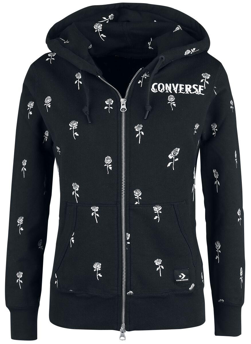 Image of   Converse Essentials Roses Print Full-Zip Hoodie Girlie hættejakke sort