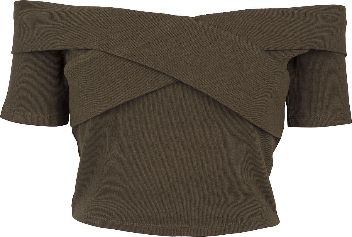 Urban Classics Ladies Off Shoulder Cross Rib Tee Koszulka damska oliwkowy