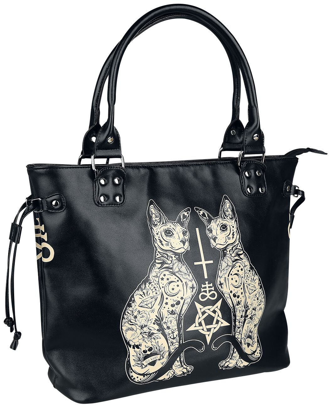 Image of   Banned Esoteric Cat Bag Håndtaske sort-hvid