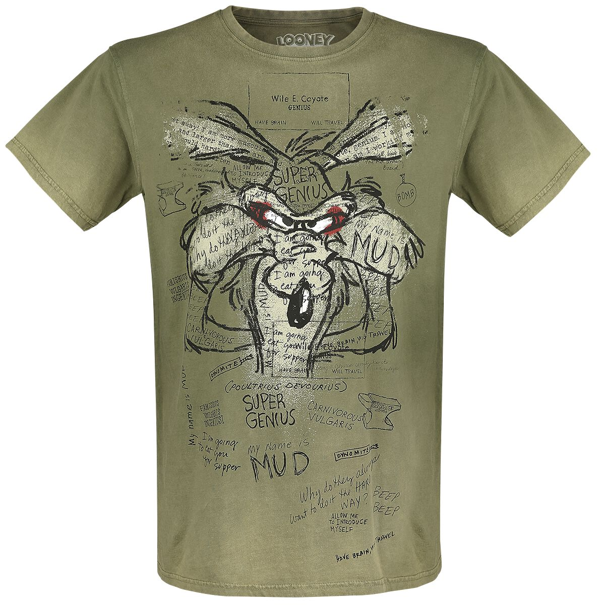 Merch dla Fanów - Koszulki - T-Shirt Looney Tunes Wile E. Coyote - Inner Thoughts T-Shirt khaki - 375283