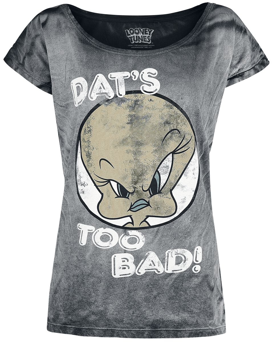 Merch dla Fanów - Koszulki - Koszulka damska Looney Tunes Tweety - Dat's Too Bad! Koszulka damska szary - 375285