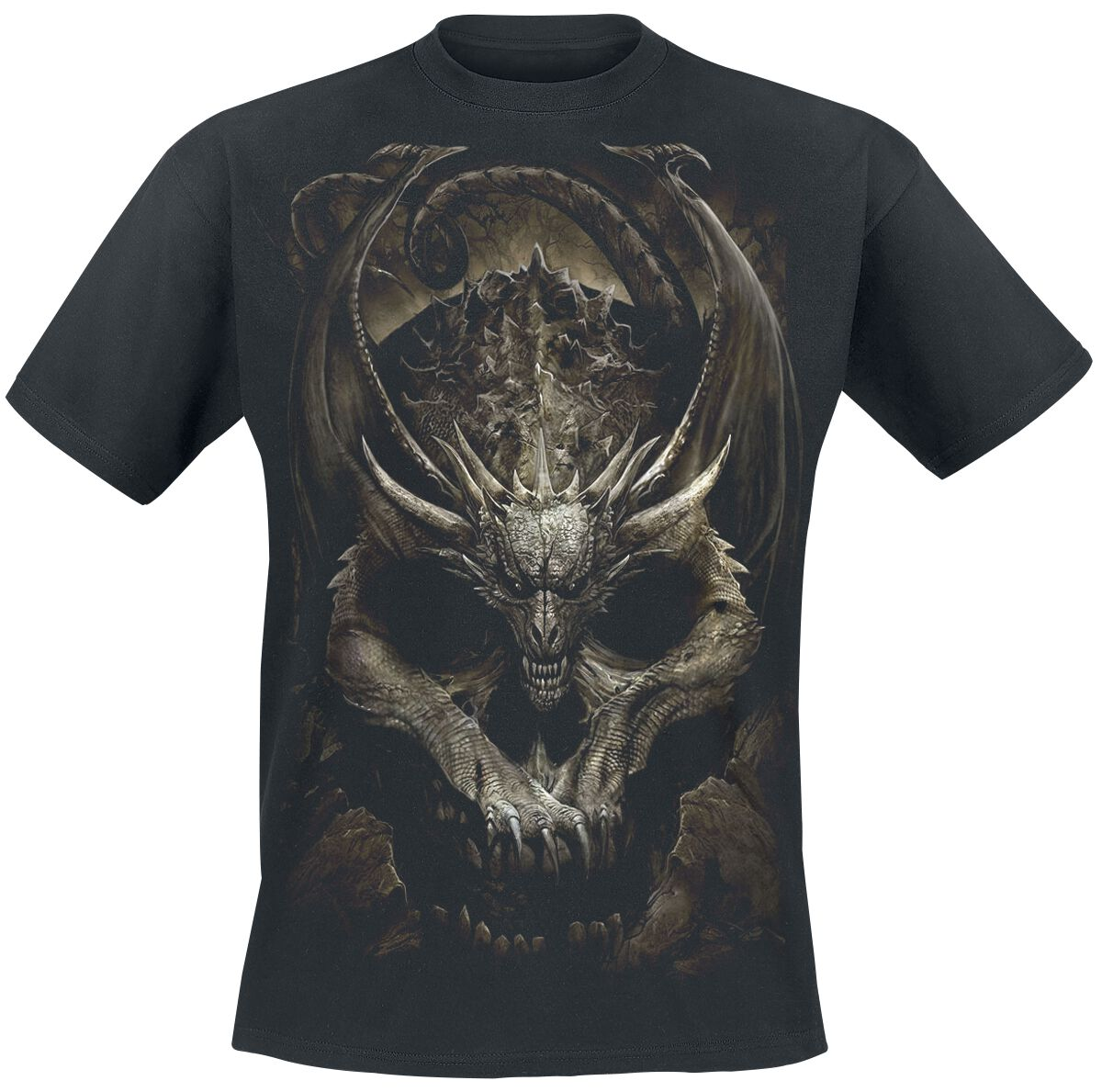 Image of   Spiral Draco Skull T-Shirt sort