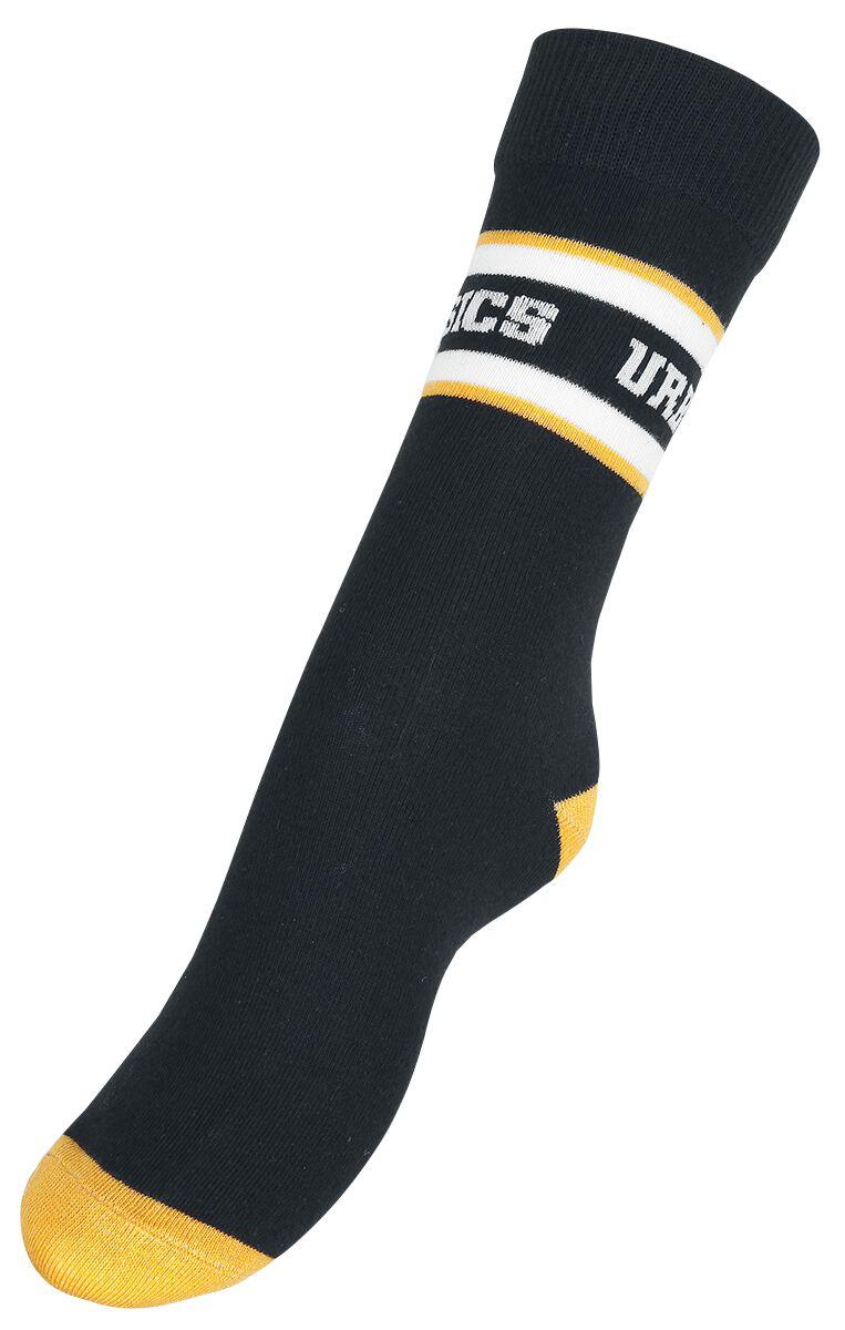 Socken für Frauen - Urban Classics Logo Stripe Sport Socks Socken schwarz weiß orange  - Onlineshop EMP