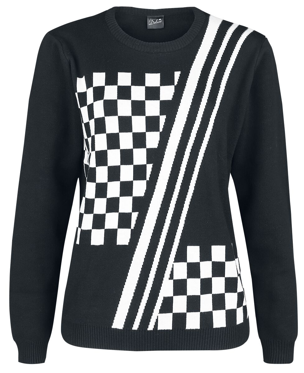 Image of   Pussy Deluxe Checkered Knit Pullover Girlie sweatshirt sort-hvid