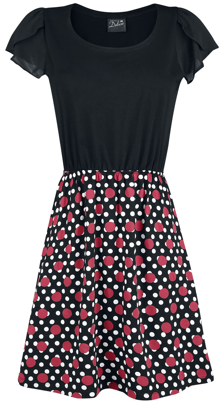 Image of   Pussy Deluxe Mixed Dotties Fantasy Dress Kjole sort-rød