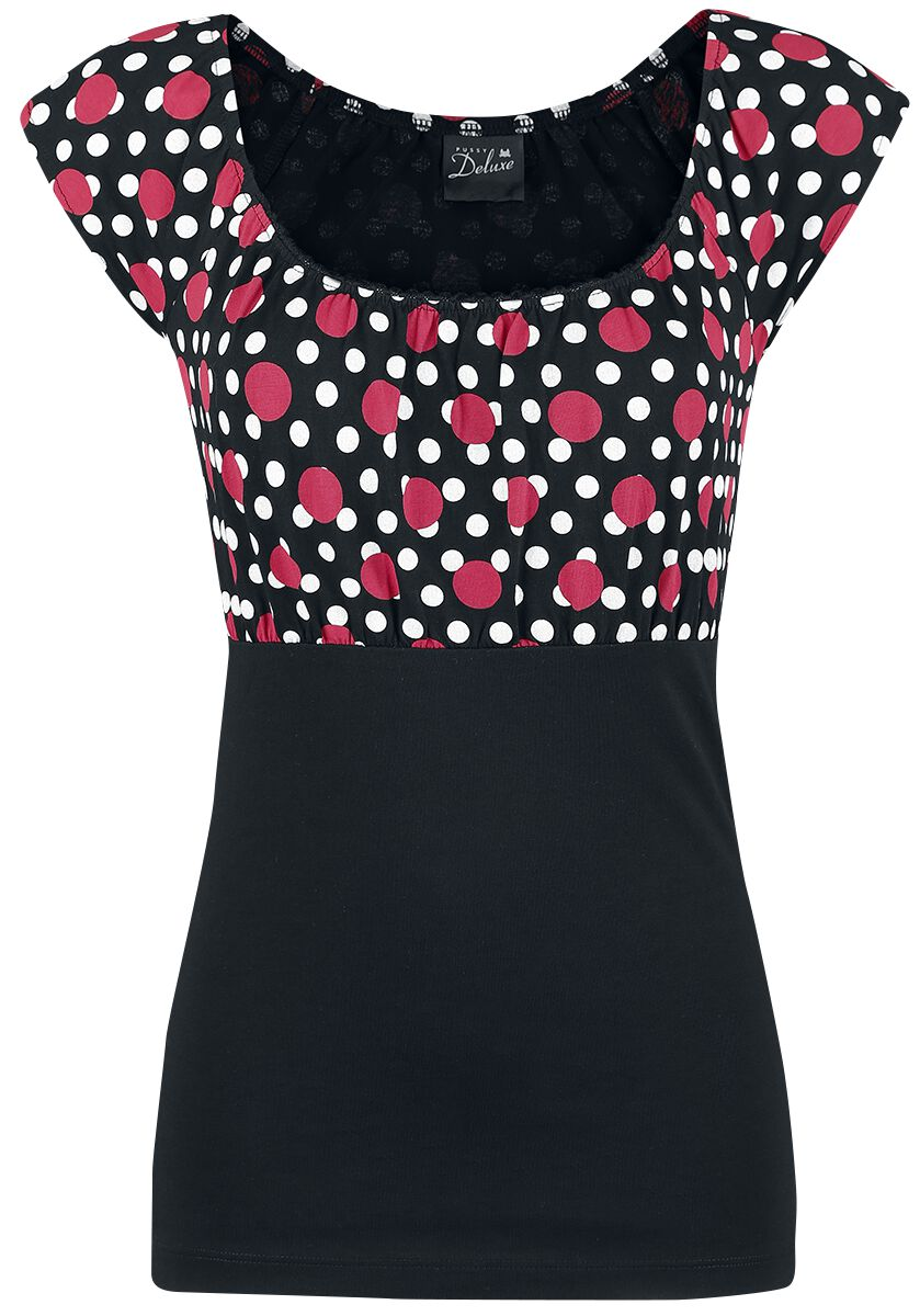 Image of   Pussy Deluxe Mixed Dotties Shirt Girlie trøje sort-rød