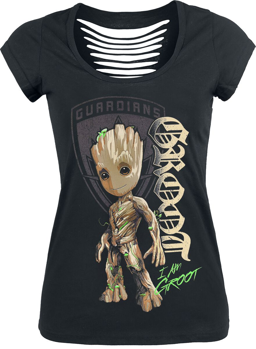 Image of   Guardians Of The Galaxy 2 - Groot Shield Girlie trøje sort