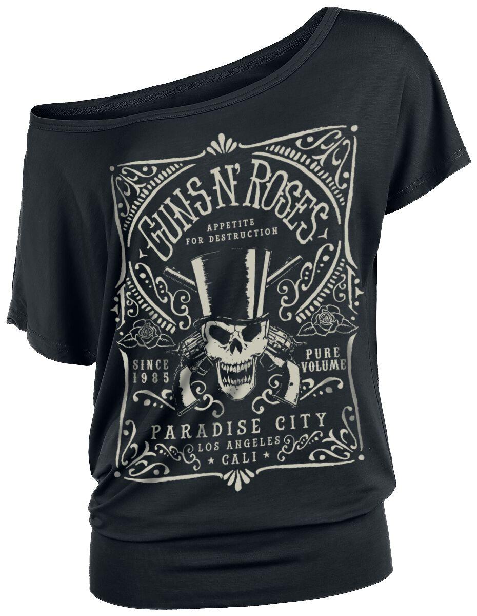 Image of   Guns N' Roses Paradise City Label Girlie trøje sort