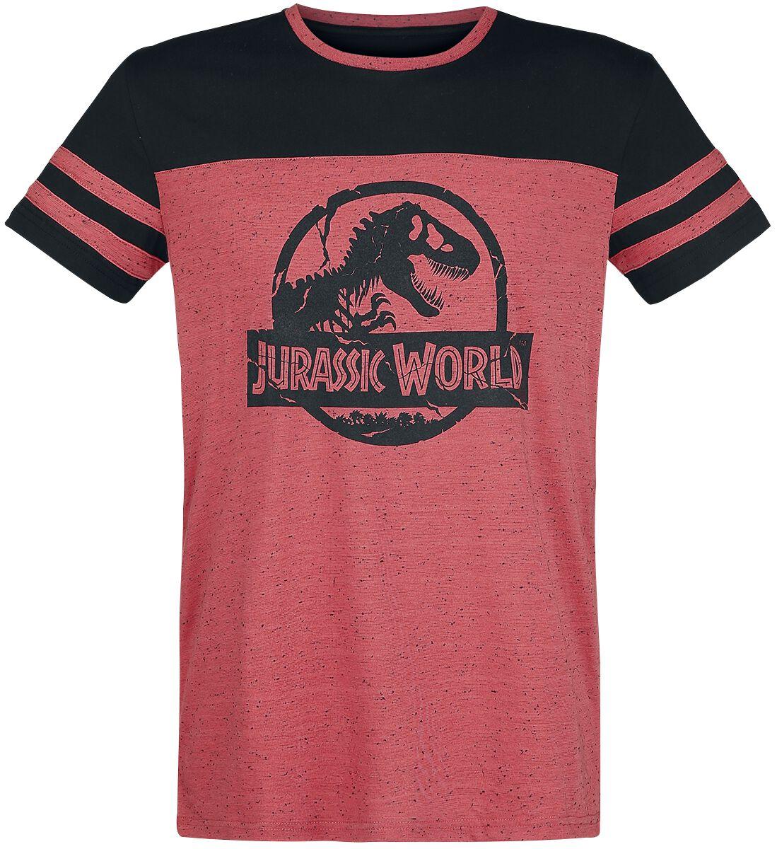Image of   Jurassic Park Logo T-Shirt meleret rød-sort