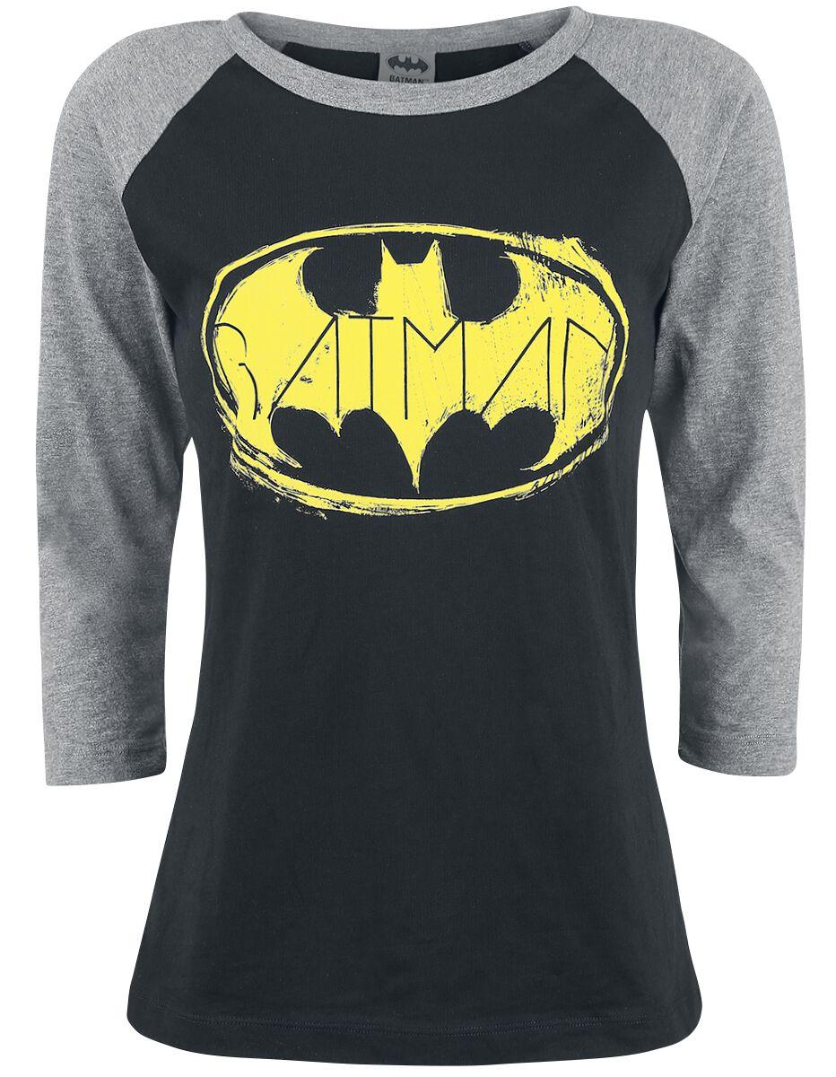 Image of   Batman Logo Girlie langærmet meleret sort-gå