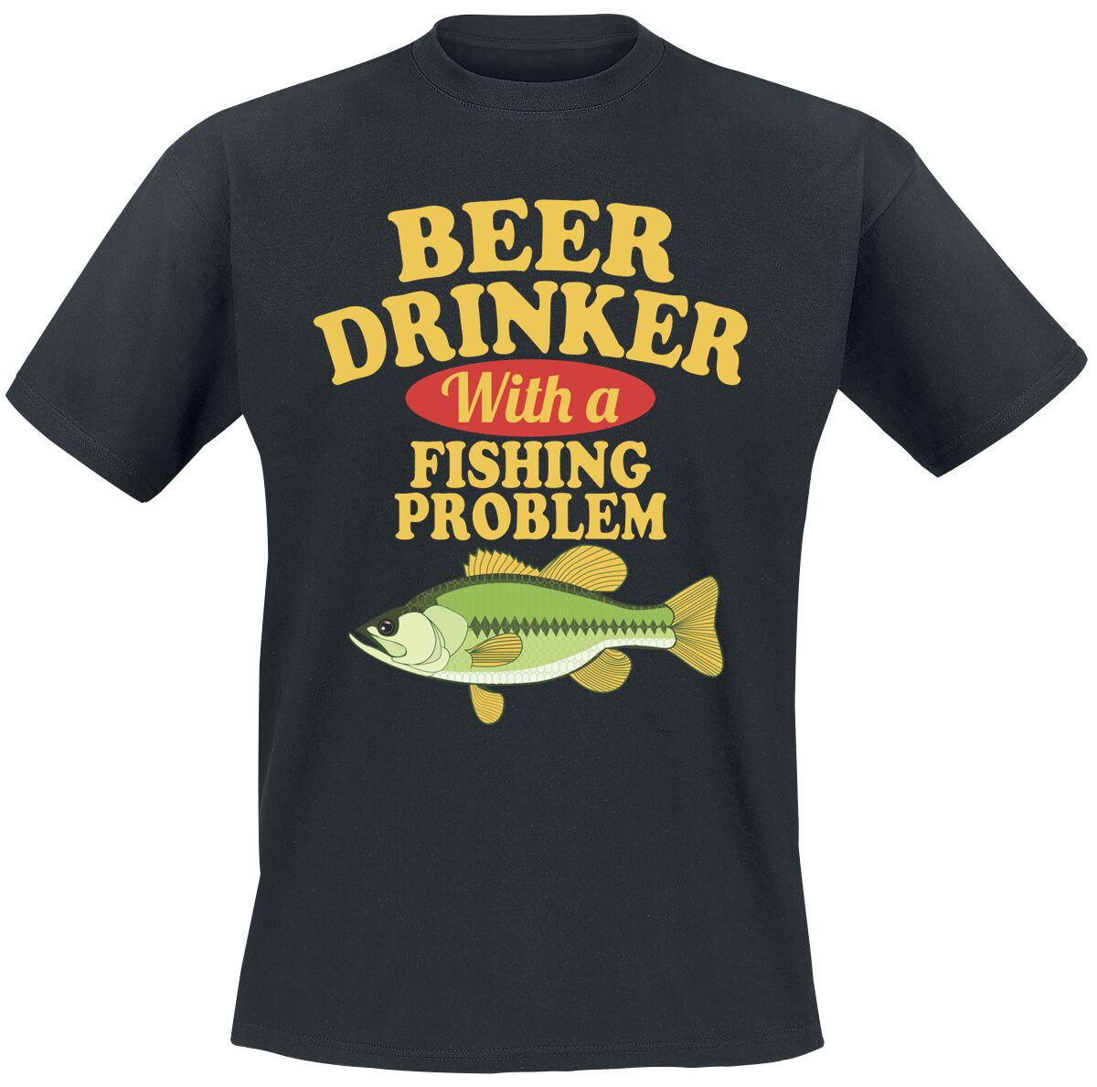 Fun Shirts - Koszulki - T-Shirt Beer Drinker With A Fishing Problem T-Shirt czarny - 376571